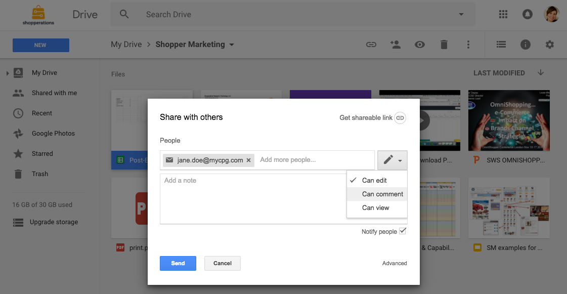 Google Drive for shopper marketing