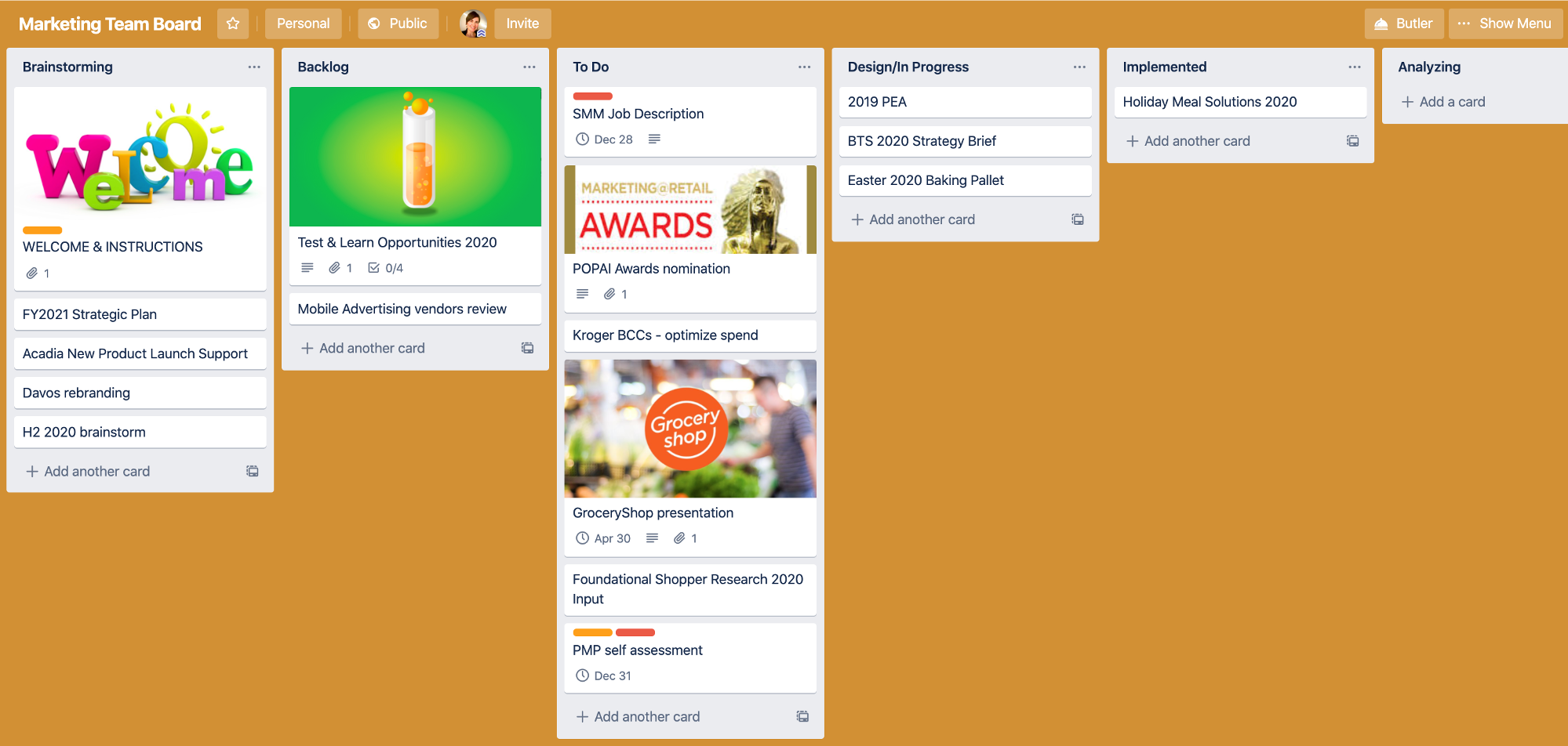 Trello board for CPG Marketing